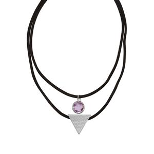 Rose De France Amethyst Couture Necklace with White Topaz in Sterling Silver 4.10cts