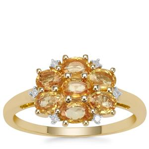 Tanzanian Canary Sapphire Ring with Diamond in 9K Gold 1.68cts