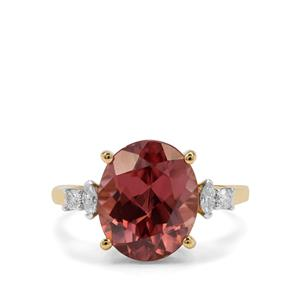 Zanzibar Zircon Ring with Diamond in 18K Gold 6.96cts