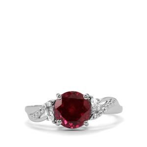 Mahenge Garnet Ring with White Topaz in Sterling Silver 2.61cts