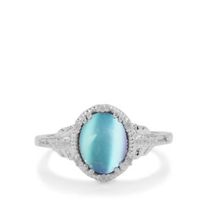 Blue Moonstone & White Zircon Sterling Silver Ring ATGW 2.35cts