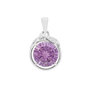 Bahia Amethyst Pendant with White Zircon in Sterling Silver 6.18cts