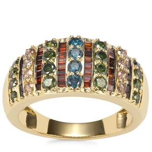 Red, Blue, Champagne Diamond Ring with Green Diamond in 10K Gold 1.45ct