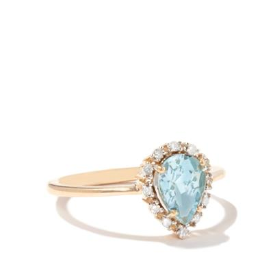 JOYCE AQUAMARINE AND DIAMOND 9K GOLD RING