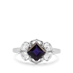 Bengal Iolite & White Zircon Sterling Silver Ring ATGW 1.85cts