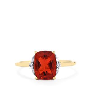 Tarocco Red Andesine Ring with Diamond in 10K Gold 1.66cts