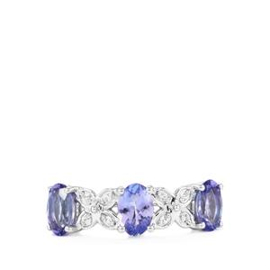 Tanzanite & White Topaz Sterling Silver Ring ATGW 1.38cts