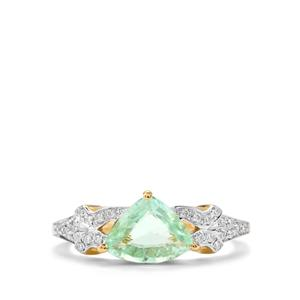 Paraiba Tourmaline Ring with Diamond in 18K Gold 1.24cts
