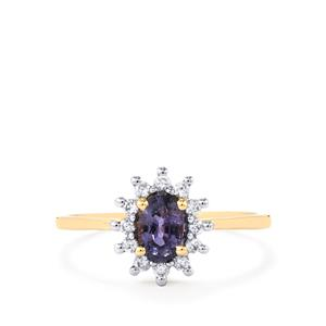 Natural Umba Sapphire Ring with White Zircon in 10K Gold 0.85ct