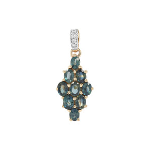 Natural Nigerian Blue Sapphire Pendant with White Zircon in 9K Gold 2.05cts