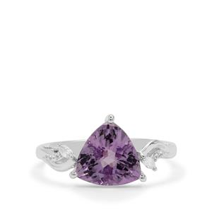 Rose De France Amethyst Ring with White Zircon in Sterling Silver 3.37cts