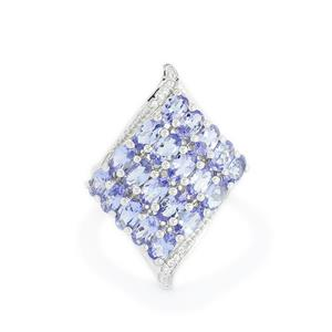 AA Tanzanite & White Topaz Sterling Silver Ring ATGW 4.89cts