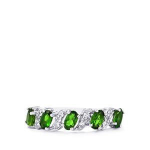 Chrome Diopside Ring with White Zircon in Sterling Silver 1.32cts