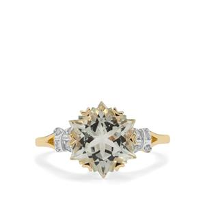 Wobito Snowflake Cut Prasiolite Ring with Diamond in 9K Gold 4.16cts