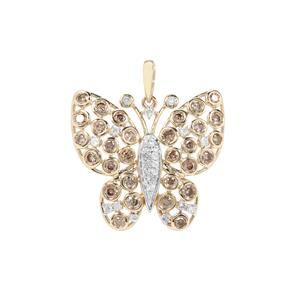 Champagne Diamond Butterfly Pendant with White Diamond in 9K Gold 1.30cts