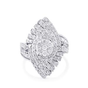 1.50ct Diamond Platinum Plated Sterling Silver Ring