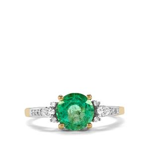 Ethiopian Emerald Ring with Diamond in 18K Gold 1.86cts