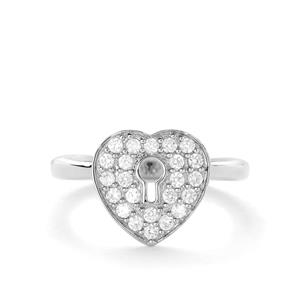 0.51ct White Zircon Sterling Silver Couture Ring