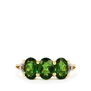 Chrome Diopside Ring with Diamond in 10k Gold 2.53cts