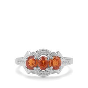 Mandarin Garnet & White Zircon Sterling Silver Ring ATGW 2.18cts