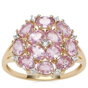 Sakaraha Pink Sapphire Ring with White Zircon in 9K Gold 2.97cts