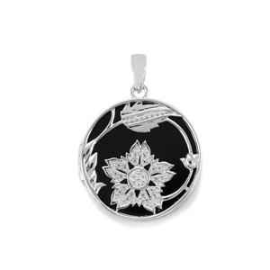 Black Onyx Locket with White Topaz in Sterling Silver 17cts