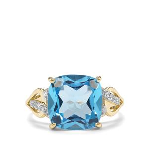 Swiss Blue Topaz & White Zircon 9K Gold Ring ATGW 7.17cts