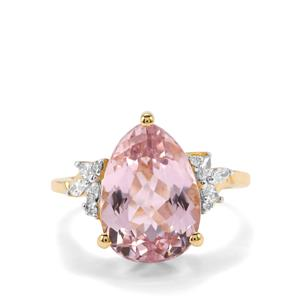 Minas Gerais Kunzite Ring with Diamond in 18K Gold 6.43cts