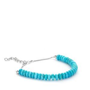 17ct Sleeping Beauty Turquoise Sterling Silver Bead Bracelet