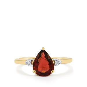 Nigerian Rubellite & Diamond 10K Gold Ring ATGW 1.56cts