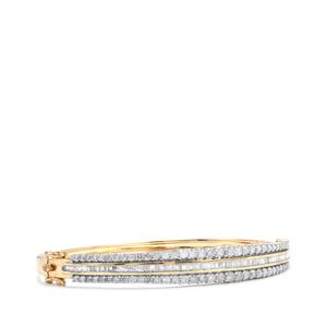 Diamond Oval Bangle in 10K Gold 3.10ct