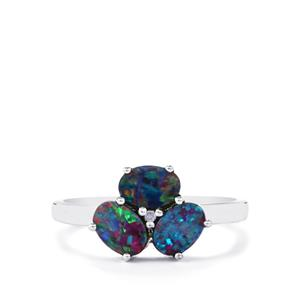 Boulder Opal Ring with Diamond in Sterling Silver