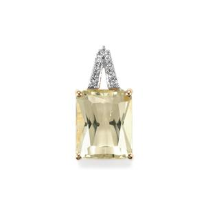 Canary Kunzite Pendant with White Zircon in 10K Gold 3.76cts