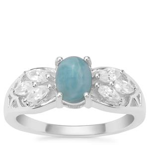 Larimar Ring with White Zircon in Sterling Silver 1.47cts