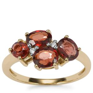 Burmese Spinel Ring with White Zircon in 10K Gold 2.43cts