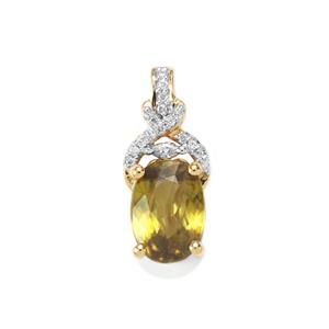 Ambilobe Sphene Pendant with Diamond in 18K Gold 2.64cts