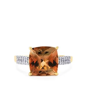 Oregon Sunstone Ring with Diamond in 18k Gold 3.42cts