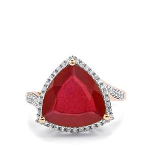 Malagasy Ruby Ring with White Zircon in 9K Gold 7.72cts (F)