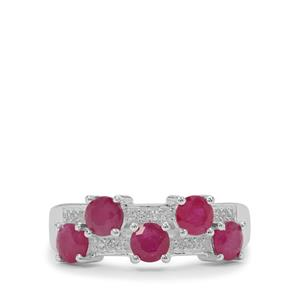 Kenyan Ruby Ring with White Zircon in Sterling Silver 2cts