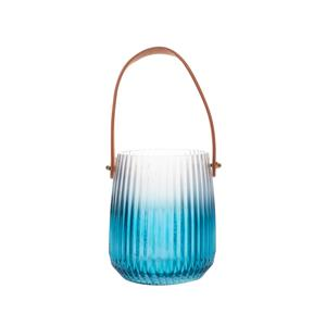 Blue Lantern Glass Vase with Suede Handle