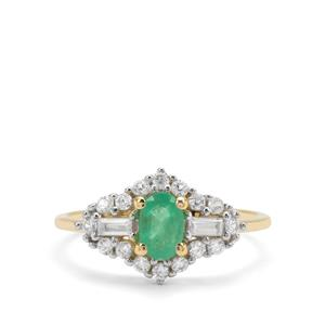 Colombian Emerald & White Zircon 9K Gold Ring ATGW 1.04cts
