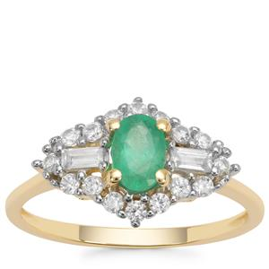 Colombian Emerald Ring with White Zircon in 9K Gold 1.04cts
