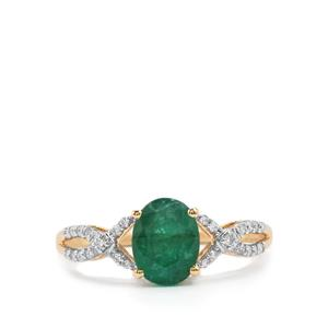 Minas Gerais Emerald Ring with Diamond in 18K Gold 1.63cts