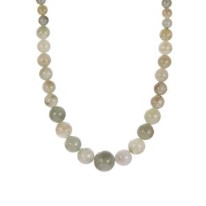 Natural Burmese Jadeite Necklace in Sterling Silver 165.70cts