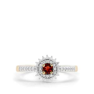 Mahenge Red Spinel & White Zircon 9K Gold Ring ATGW 0.44cts