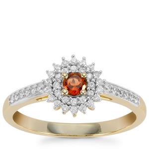 Mahenge Red Spinel Ring with White Zircon in 10K Gold 0.44cts