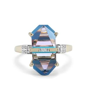 Lehrer Cosmic Obelisk Sleeping Beauty Turquoise, Rose De France Amethyst Ring with Diamond in 10K Gold 6.97cts
