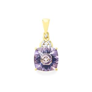 Lehrer KaleidosCut Rose Topaz, Ceylon Sapphire Pendant with Diamond in 10K Gold 7.07cts
