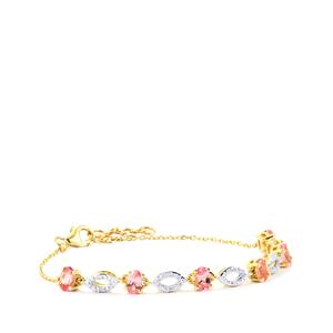 Mozambique Pink Spinel Bracelet with Diamond in 9K Gold 1.57cts