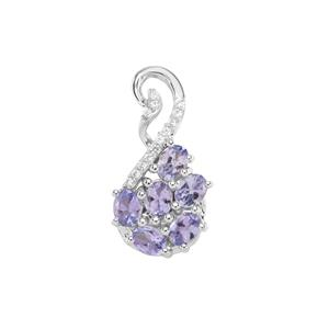 AA Tanzanite Pendant with White Zircon in Sterling Silver 0.92cts